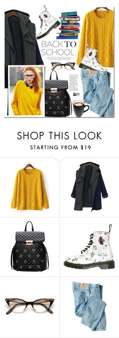 """Back to school"" by mada-malureanu ❤ liked on Polyvore featuring Dr. Martens, Dickies, 7 For All Mankind, BackToSchool, Sheinside and shein"