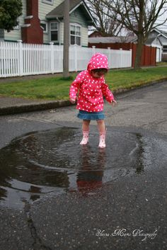 sweet girl rain puddle
