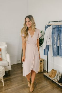 Everly High Low Wrap Midi Dress - Natural Pink