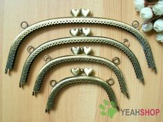 Antique Brass Embossed Purse Frame  Curve Laceedge by yeahshop, $20.00