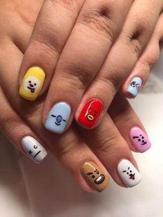K Pop Nails, Cute Nails, Pretty Nails, Hair And Nails, Gel Nails, Acrylic Nails, Acrylic Art, Army Nails, Korean Nails
