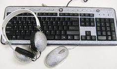 Crystal Rhinestone Bling USB Keyboards, DJ Over-Ear Headphones and Crystal Rhinestone Computer Mouse Laptop Computers, Computer Keyboard, Computer Mouse, Geek Gadgets, Computer Accessories, Crystal Rhinestone, Over Ear Headphones, Bling, Crystals
