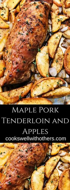 Maple Pork Tenderloin and Apples is a delicious one pan dinner that is simple to prepare, healthy, and the combo of pork and apples is perfect! Healthy Pork Tenderloin Recipes, Pork Recipes, Cooking Recipes, Apple Stuffed Pork Tenderloin, Best Pork Tenderloin Recipe, Pork Tenderloin Marinade, Slow Cooker Pork Tenderloin, Recipies, Pork Meals