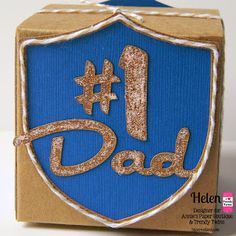 DT Helen @ Twine It Up! with Trendy Twine made a quick and easy gift box for a #1 dad. She used a 3x3 Kraft Box and Krazy for Kraft Trendy Twine.