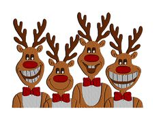 Reindeer Family Machine Embroidery Design