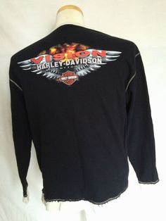 Harley-Davidson Motorcycles Crew Neck Sz Large Black Mens Sweater Long Sleeves | eBay
