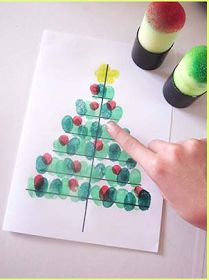 DiY Christmas tree card with fingerprints