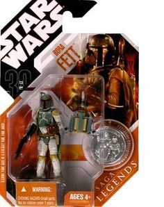 Star Wars 30th Anniversary Saga 2007 Legends Action Figure Wave 2 #11 Boba Fett by Hasbro. $30.97. Action figure comes with display stand and exclusive hologram figure!. Collectible action figure commemorates a memorable story line from the film Return of the Jedi.. SAGA LEGENDS BOBA FETT W/ COIN