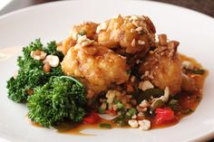 General Tsao's Cauliflower 1/4 cup potato starch 1/4 cup water 2 Tablespoons coconut oil 5 cloves garlic sliced 1 Tablespoon chopped ginger 1/2 cups agave, maple syrup or honey (not vegan) 1/4 cup apple cider vinegar 1/4 cup white wine 1/2 qt. Veg stock 1/2 cup tamari
