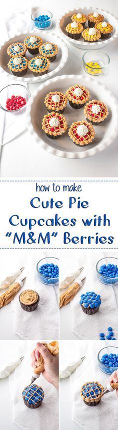 How to Make Cute Pie Cupcakes with M&M's | The Bearfoot Baker