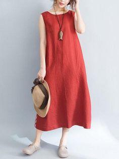 AdoreWe - NewChic Casual Pure Color O-Neck Sleeveless Pockets Women Dress - AdoreWe.com