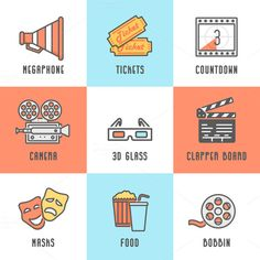 9 Cinema Icons by Snitovets on Creative Market