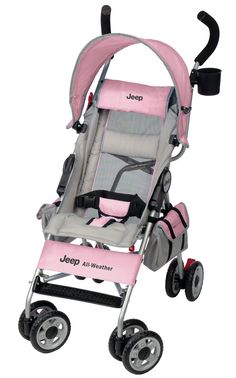 Jeep Wrangler All-Weather Umbrella Stroller Pink Features: Very light stroller Folds Small Parent cup holder Easy fold Incline/Decline  Cool-Climate roll exposes mesh for better air-circulation to keep baby comfy adjustable Sun Visor Does not recline completely flat, it only goes down to a 35 degree angle.
