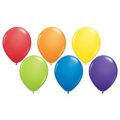 Rainbow Party Solid Balloons - Balloons - Shop by Product PlatesAndNapkins.com