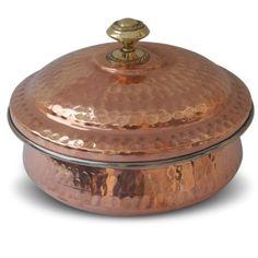 Copper Serveware Handmade Bowl with Lid Inside Steel