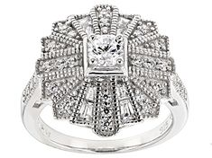 Bella Luce (R )white diamond simulant round and baguette, rhodium over sterling silver ring. Measures approximately x and is not sizeable. The diamond equivalent weight is Words Meaning Beautiful, R White, Diamond Simulant, Broken Chain, Types Of Rings, Sterling Silver Rings, Fine Jewelry, Jewels, Engagement Rings