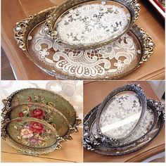 italian home decor Shabby Chic Crafts, Vintage Crafts, Shabby Chic Decor, Decoupage Vintage, Diy Resin Crafts, Diy And Crafts, Arts And Crafts, Doilies Crafts, Lace Painting