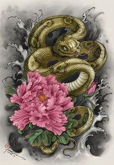 japanese tattoos meaning Japanese Snake Tattoo, Japanese Tattoo Designs, Japanese Sleeve Tattoos, Tattoo Themes, Snake Art, Asian Tattoos, Japan Tattoo, Oriental Tattoo, Beste Tattoo
