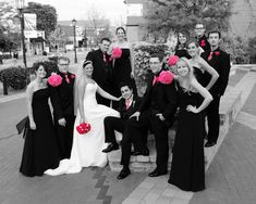 wedding picture idea-white and black with only pink showing