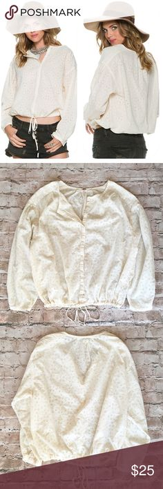 "Free People Stars Align Button Front Top Great condition- no issues. Details & Care An internal drawstring cinches the hem of a boxy button-front top punctuated with open floral embroidery. Lightweight cotton construction and rollable sleeves make this a cool, casual choice for summertime styling. 24"" length (size Medium). Front button closure. 100% cotton. Hand wash cold, line dry. By Free People; imported. Free People Tops Blouses"