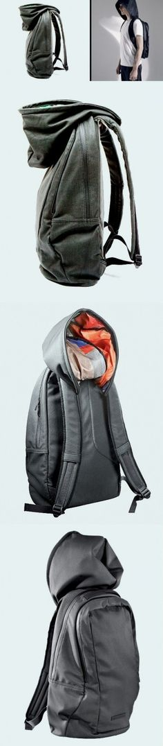 Creative design of backpack with hat An useful and waterproof backpack design.