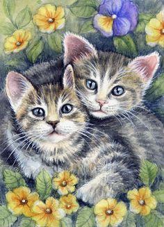 ACEO Original Miniature Watercolor Painting Cats by Elena Mezhibovsky  | eBay