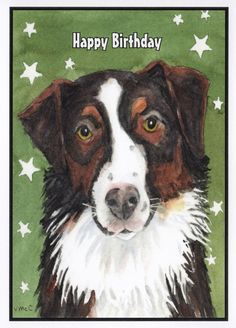 Birthday Australian Shepherd Card.  Watercolor Australian Shepherd Dog Card.  Inside of card:  Hope your birthday is AU-ssome! by StellaJaneCards on Etsy