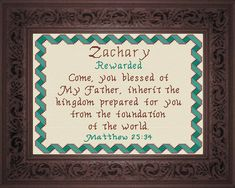 Zachary - Name Blessings Personalized Cross Stitch Design from Joyful Expressions Cross Stitch Charts, Cross Stitch Designs, Jacob Name, I Love My Son, Names With Meaning, Powerful Words, Gifts For Family, Joyful, Custom Framing