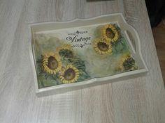 Decoupage sunflower tray