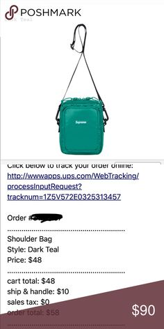 SUPREME DARK TEAL shoulder bag 100% authentic make a fashion statement!! DM for any questions. Lowest price on here Supreme Bags Shoulder Bags