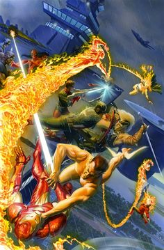 Iron Man & Avengers vs Namor & Invaders by Alex Ross