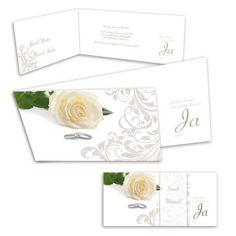 Hochzeiteinladungskarten - Edle Rose mit wunderschönen Ranken