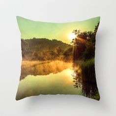 Sunrise at the lake /Sonnenaufgang am See Throw Pillow by Karl-Heinz Lüpke - $20.00