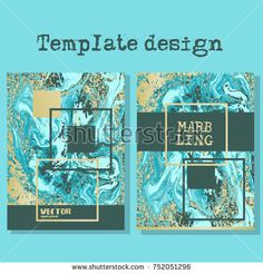 Marbled blue and yellow abstract background. Liquid marble pattern. Vector fluid texture. Business template design.