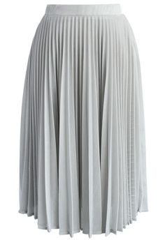 Shine Your Way Pleated Midi Skirt in Silver