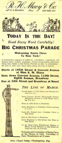 Macy's Thanksgiving Day Parade programme for first parade 1924