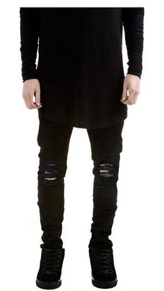 1afa27ab65 Black Ripped Jeans Denim Joggers