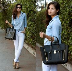 Sheinside Denim Shirt, Windsor White Skinny Pants, 3.1 Phillip Lim Pashli Satchel, Matiko Leopard Wedges