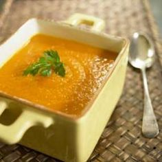 Make it up, freeze in single serving sizes for a quick souped up meal.  (butternut squash soup photo)