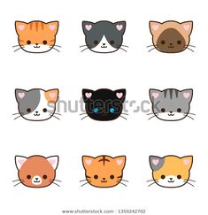 Find Set Cute Cat Face Different Color stock images in HD and millions of other royalty-free stock photos, illustrations and vectors in the Shutterstock collection. Thousands of new, high-quality pictures added every day. Cat Face Drawing, Cute Cat Drawing, Cute Drawings, Cat Face Tattoos, Cartoon Tattoos, Cute Kawaii Animals, Kawaii Cat, Face Doodles, Cute Cat Face