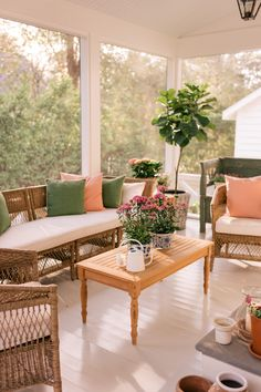 Our Screened In Porch During Spring - Gal Meets Glam Wicker Furniture, Rustic Furniture, Living Room Furniture, Outdoor Furniture Sets, Screened In Porch Furniture, Antique Furniture, Furniture Design, Indoor Outdoor, Outdoor Living
