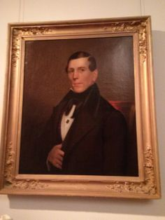 """Photo taken in the Nickerson Gallery in 2014 at Atwood House Museum: Portrait of Captain Nathaniel Kendrick (1813-1895), artist unknown. Captain Kendrick was the Master of the brig """"Cervantes"""". #atwoodhouse, #chatham, #chathamhistoricalsociety, #capecod"""