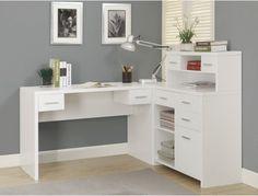 Monarch Hollow-Core L-Shaped Home Office Desk - White