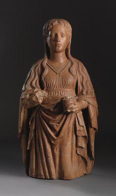 An Italian Terracotta figure of the Magdalene, century, possibly Tuscan Santa Maria, Gospel Of Mary, Mary Magdalene, Wooden Dolls, Divine Feminine, Terra Cotta, 15th Century, Madonna, Art History