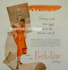 Vintage Berkshire Seamed Stocking Ad/ Vintage by mamiezvintage, $9.95
