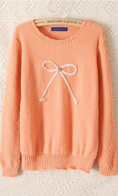 Bowknot infront bosom round collar pullover sweater orange. girly