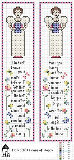 hancock's house of happy: Bad Ass Elizabeth Bennet: A Pride and Prejudice Bookmark Cross Stitch Chart