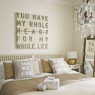 Romantic bedroom #main #bedroom #linen #biege #bedding #chandellier #MES #headboard #poster #art #living #house #home #mirror #blanket #throw
