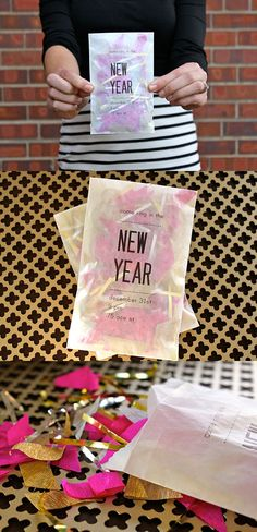 Clever confetti invitation idea for new years party