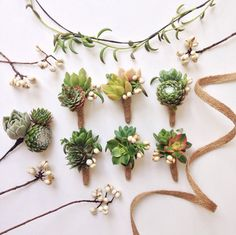 They look awesome as boutonnieres. | 23 Reasons Succulents Are The King Of All Wedding Flowers